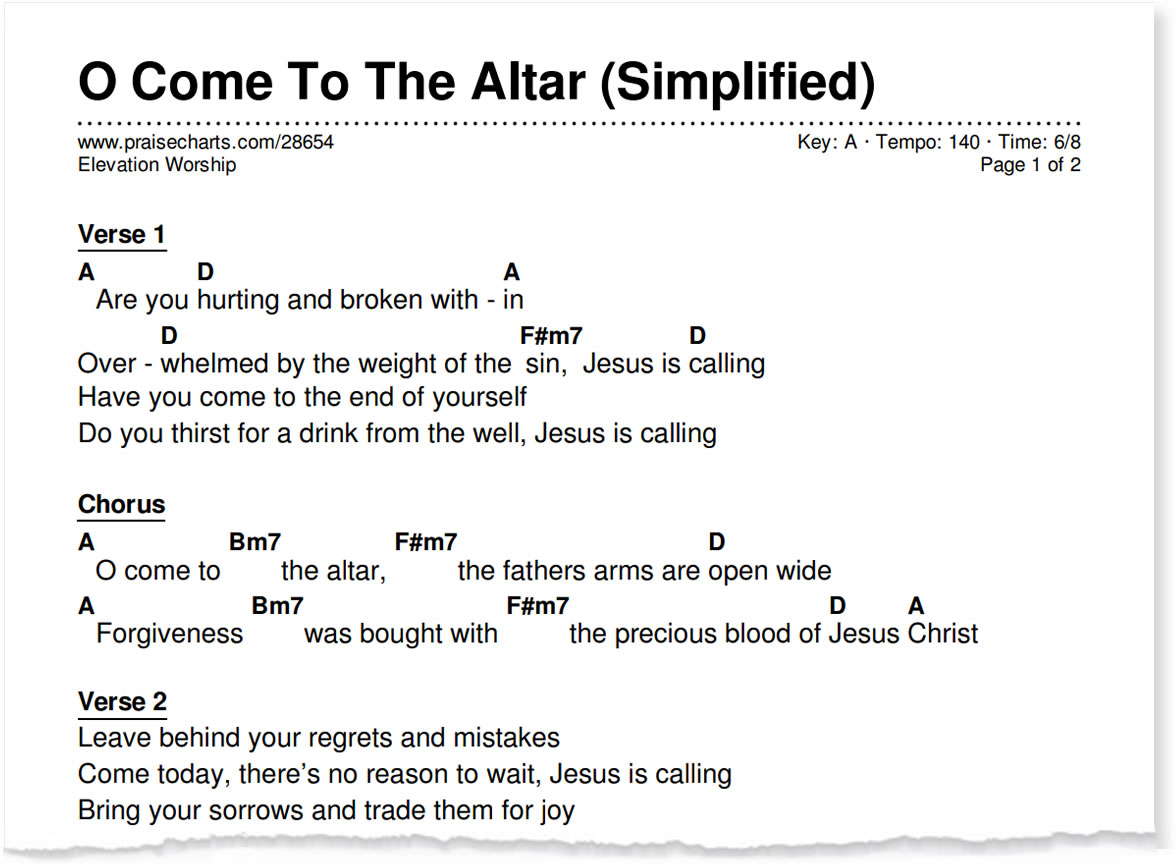 Introducing the simplified worship series praisecharts simplified chord chart sample 1 column hexwebz Gallery