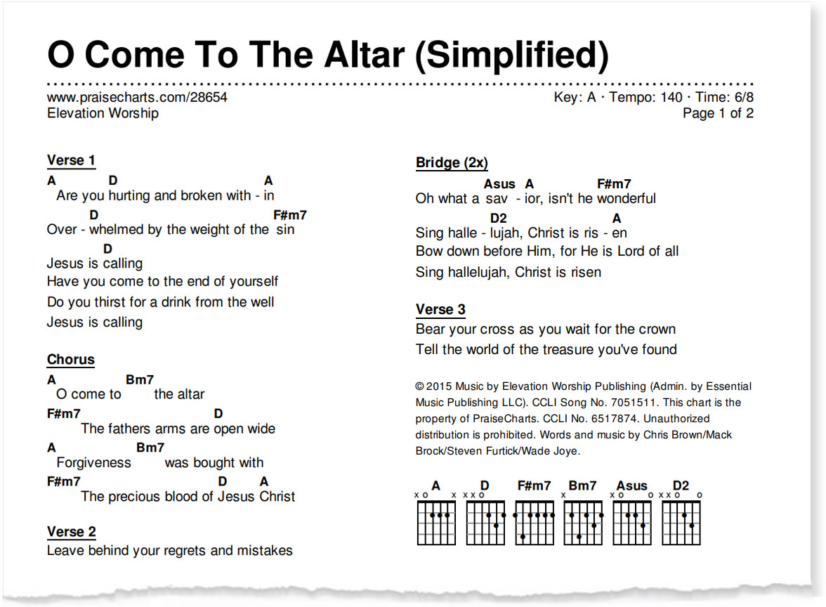Praisecharts introducing the simplified worship series simplified chord chart sample 2 columns hexwebz Choice Image