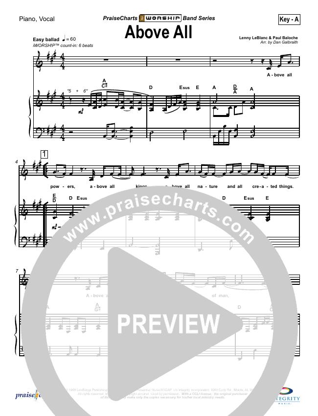 Above All Piano/Vocal (SATB) (Lenny LeBlanc)