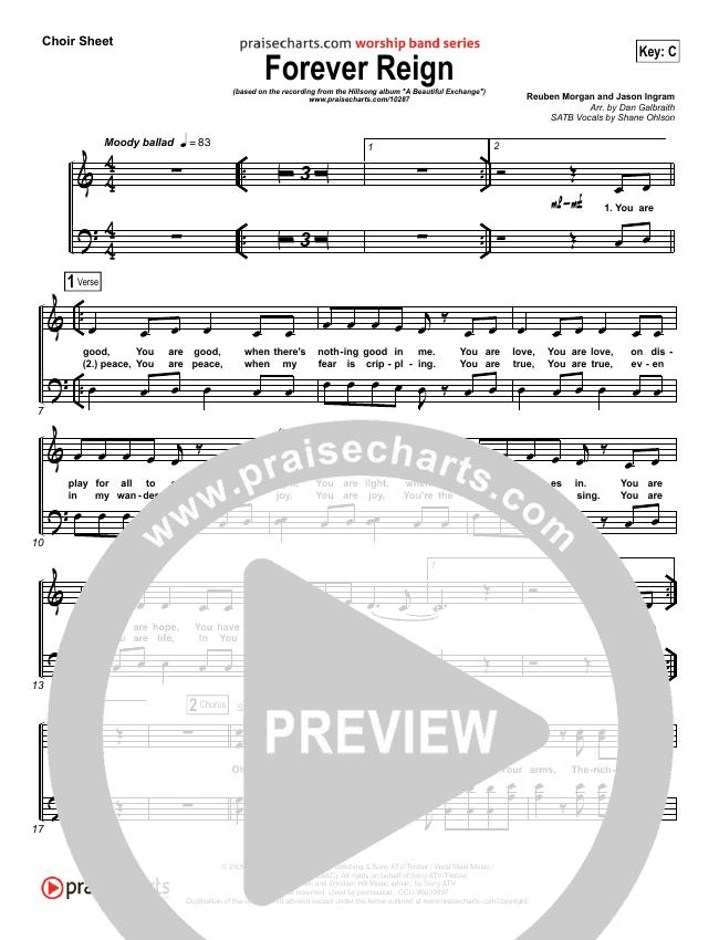 Forever Reign Choir Sheet (SATB) (Hillsong Worship)