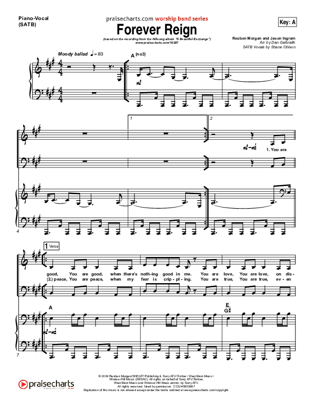 Forever Reign Piano/Vocal (SATB) (Hillsong Worship)
