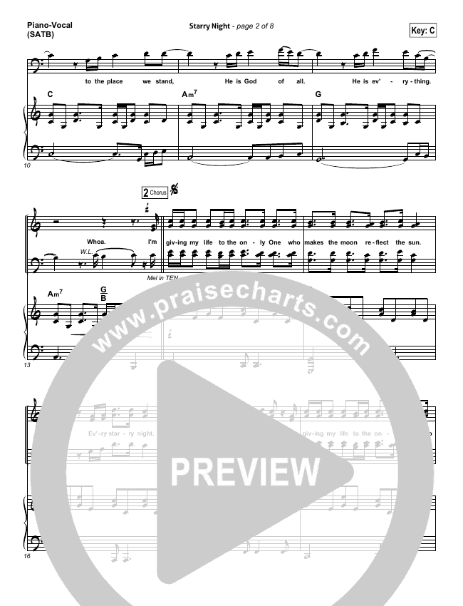 Starry Night Piano/Vocal (SATB) (Chris August)