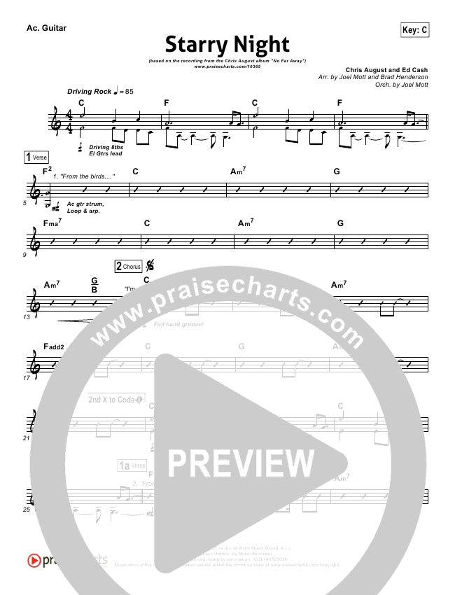 Starry Night Rhythm Chart Chris August Praisecharts