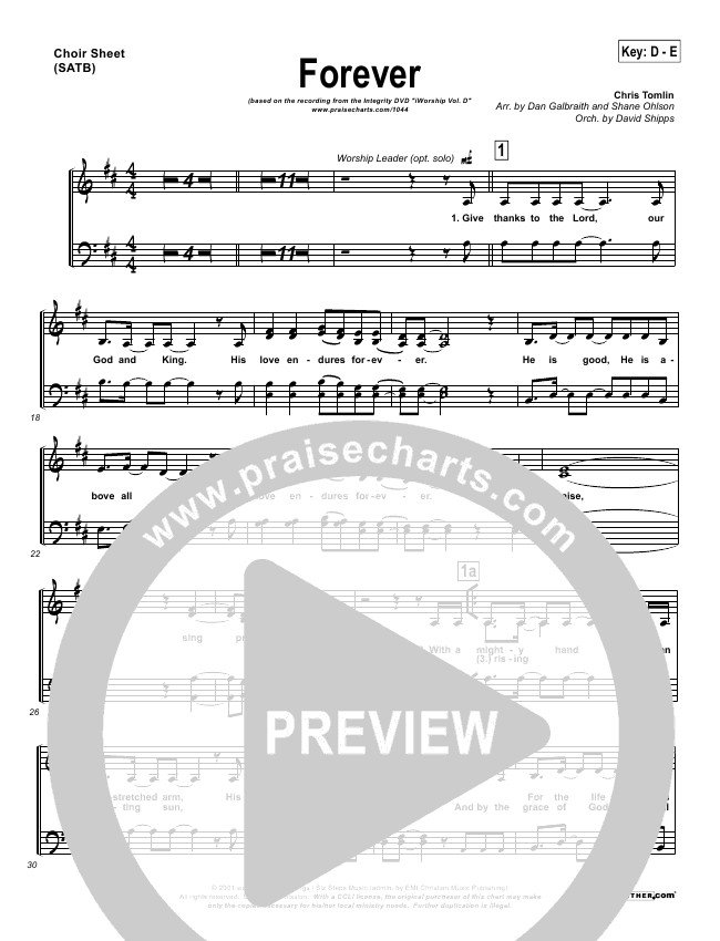 Forever Choir Sheet Satb Chris Tomlin Praisecharts