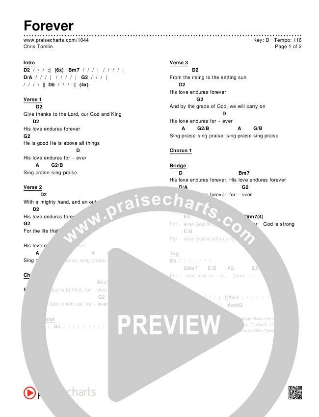 Forever Chords & Lyrics (Chris Tomlin)