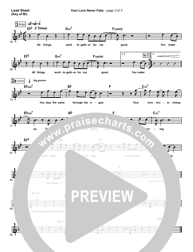 Your Love Never Fails Lead Sheet (Melody) (Jesus Culture)