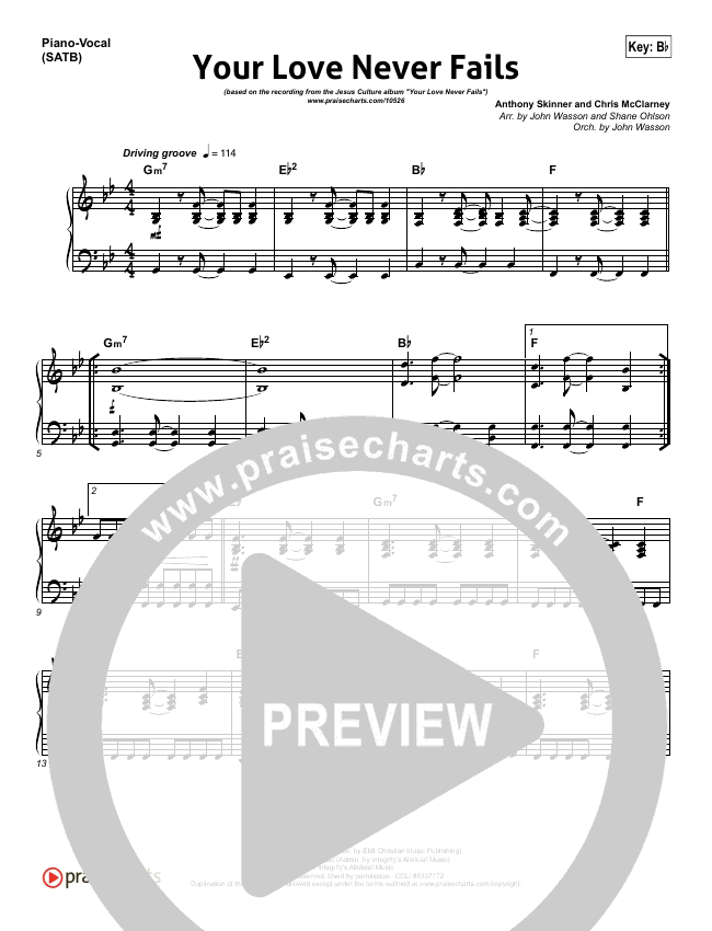 Your Love Never Fails Piano/Vocal (SATB) (Jesus Culture)