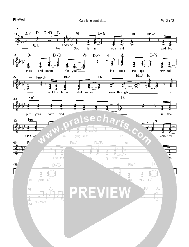 God is In Control Lead Sheet (Mark Cole)