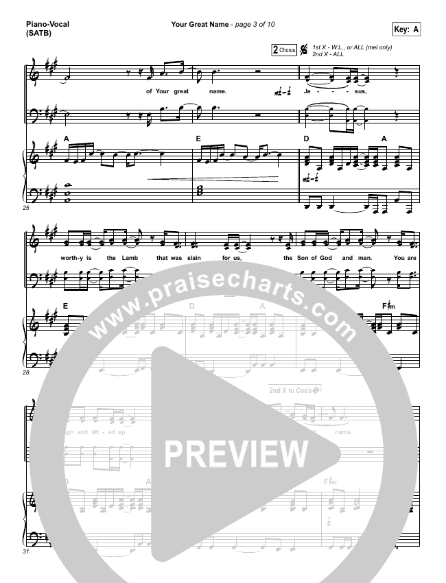 Your Great Name Piano/Vocal (SATB) (Natalie Grant)