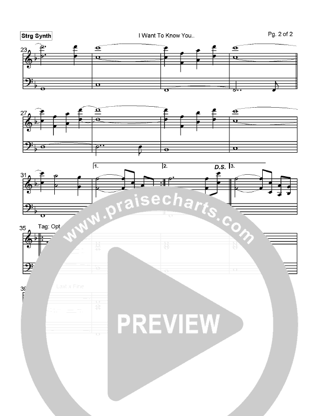 I Want To Know You Orchestration (Mark Cole)