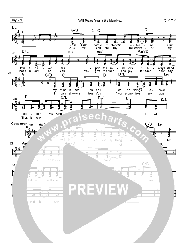 I Will Praise You In The Morning Lead Sheet (Mark Cole)