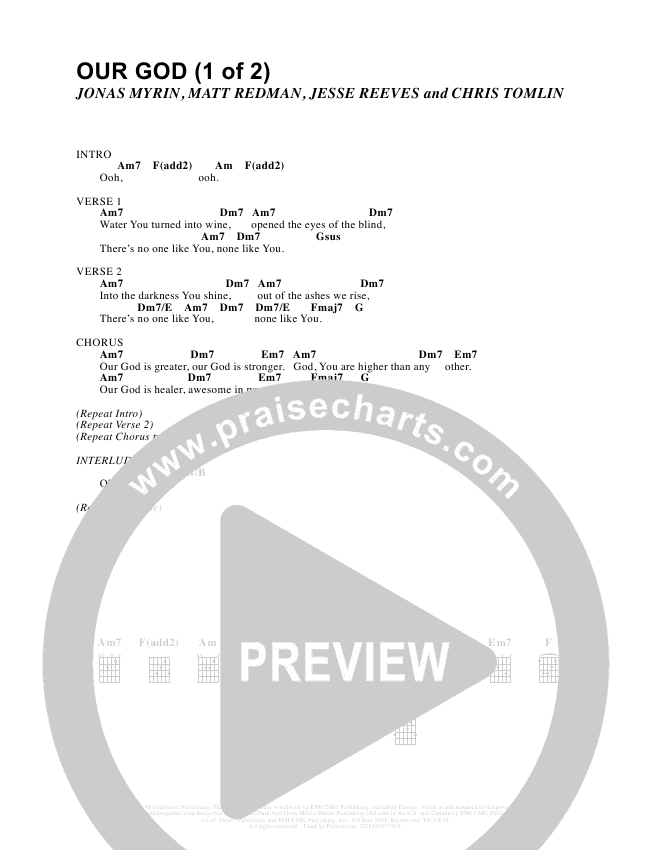 Our God  Chord Chart (Israel Houghton)
