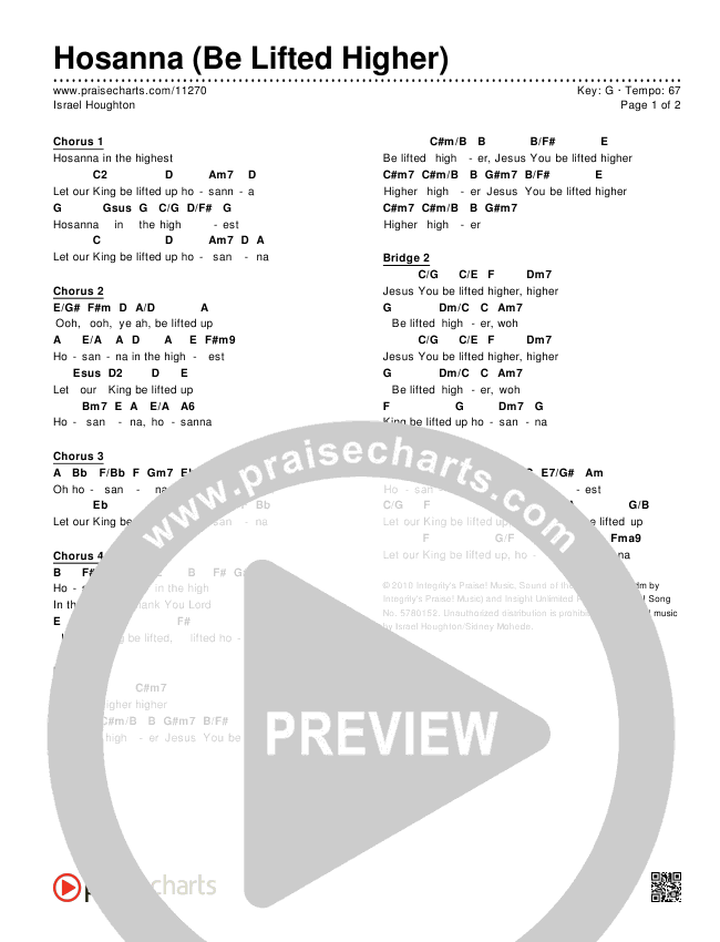 Hosanna (Be Lifted Higher) Chords & Lyrics (Israel Houghton)