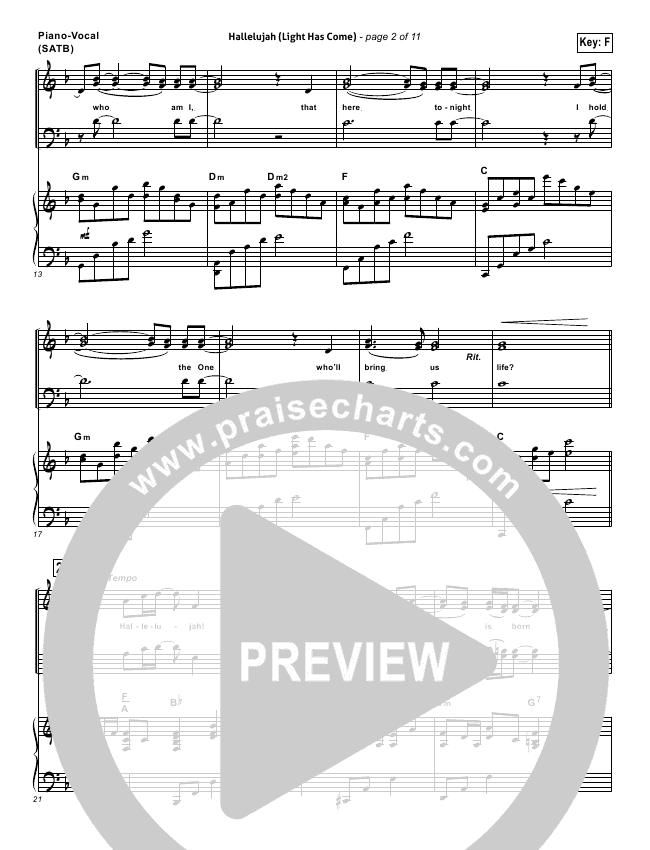 Hallelujah Light Has Come Lead Sheet Pianovocal Barlowgirl