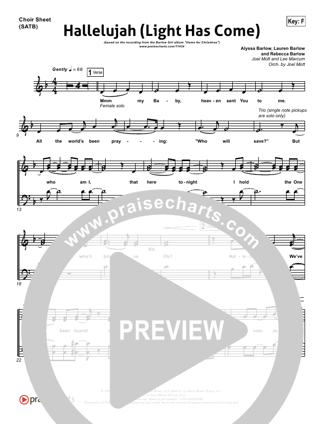 Hallelujah Light Has Come Choir Sheet Satb Barlowgirl