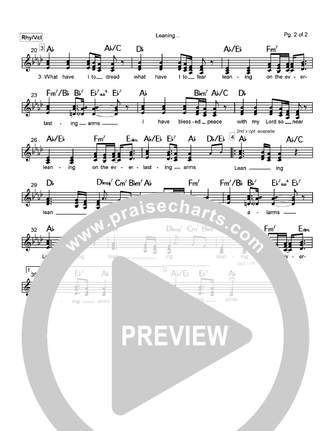 Leaning On The Everlasting Arms Lead Sheet (Mark Cole)
