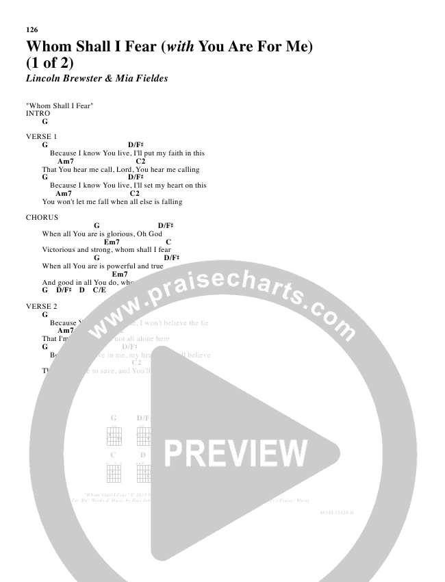 Whom Shall I Fear Chords - Lincoln Brewster | PraiseCharts