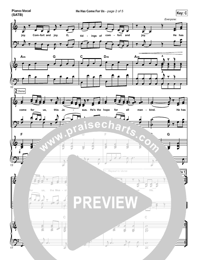 He Has Come For Us (God Rest...) Piano/Vocal (SATB) (Meredith Andrews)