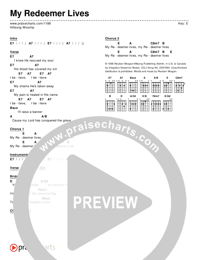 My Redeemer Lives Chord Chart (Editable) - Hillsong Worship