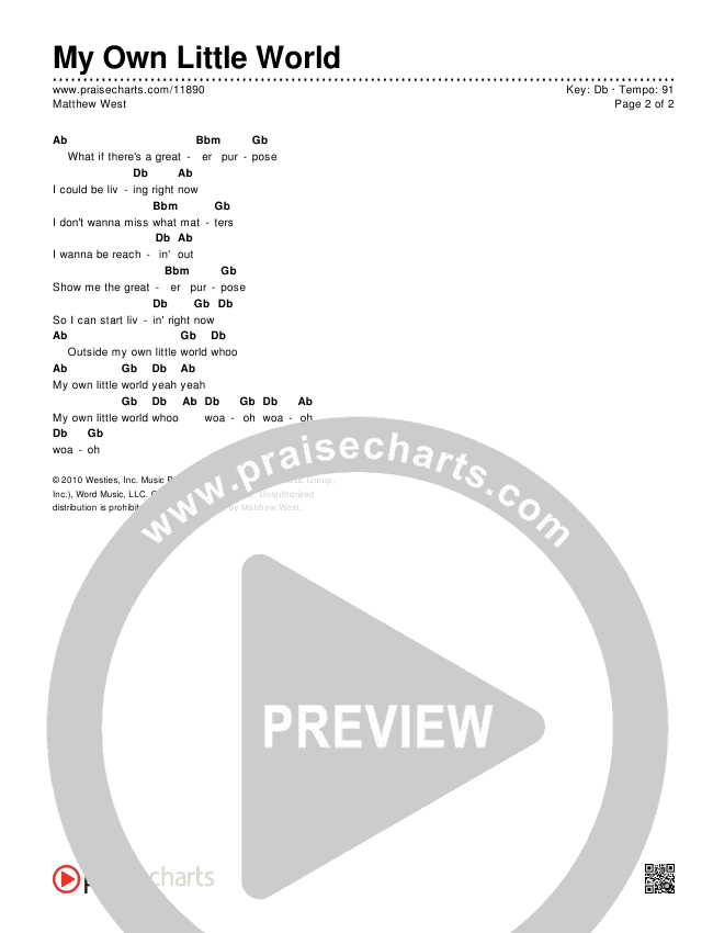 My Own Little World Chords & Lyrics (Matthew West)