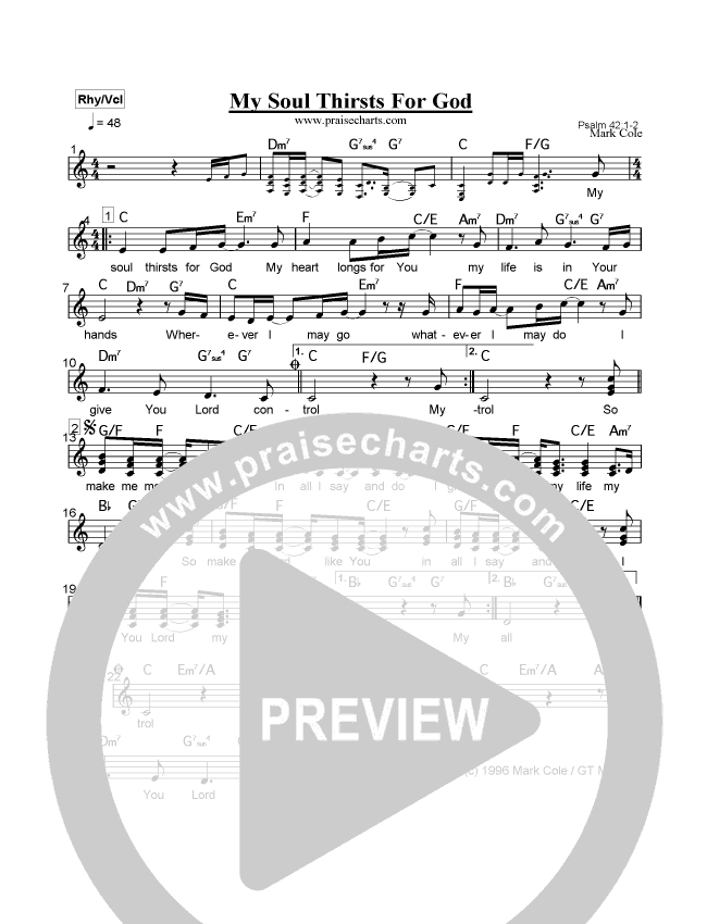 My Soul Thirsts For God Lead Sheet (Mark Cole)
