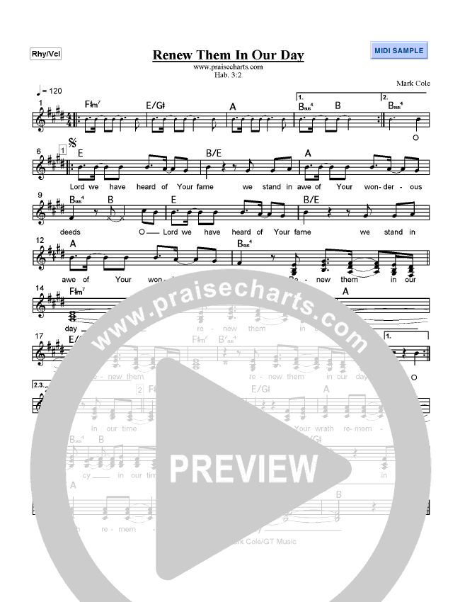 Renew Them in our Day Lead Sheet (Mark Cole)