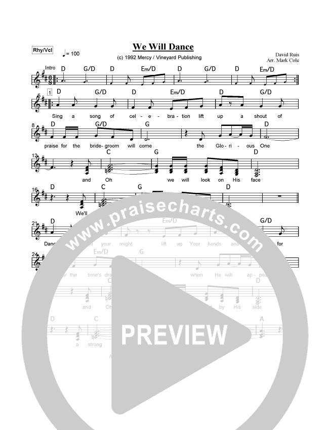 We Will Dance Lead Sheet - David Ruis | PraiseCharts