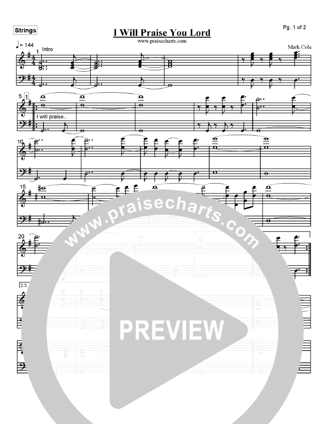 I Will Praise You Lord Orchestration (Mark Cole)