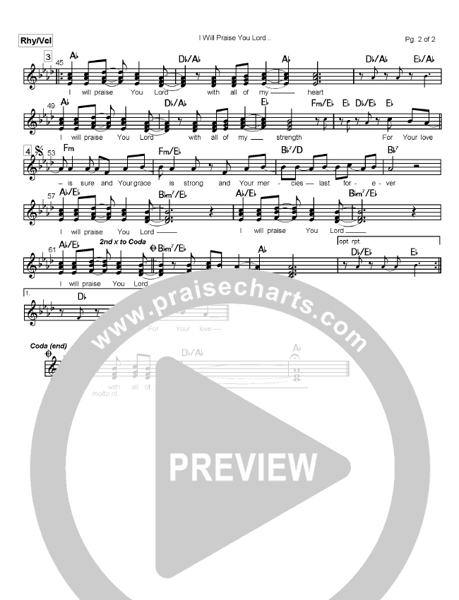 I Will Praise You Lord Lead Sheet (Mark Cole)