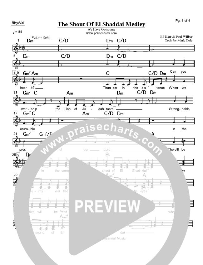 The Shout Of El Shaddai Medley Lead Sheet Paul Wilbur Praisecharts