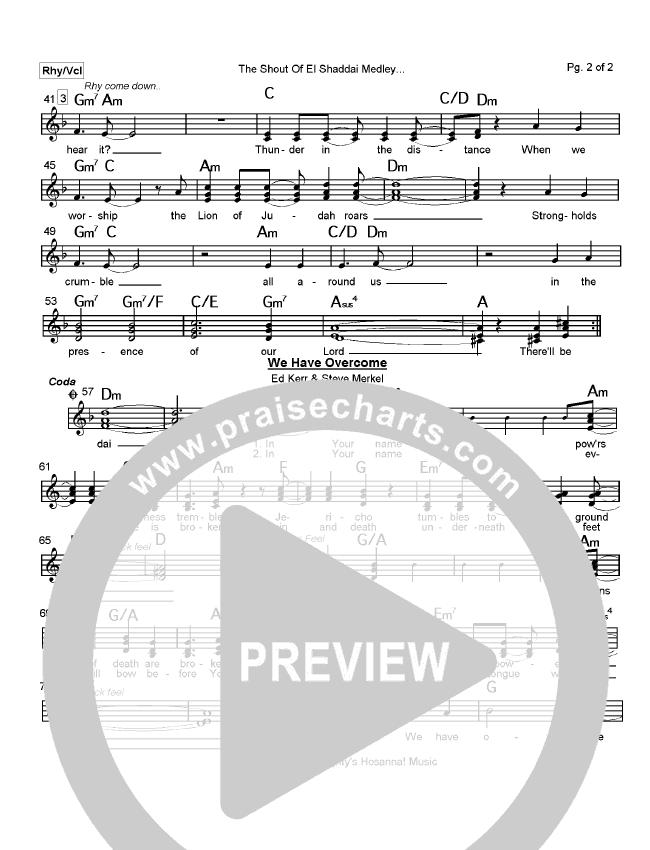 The Shout Of El Shaddai Medley Lead Sheet (Paul Wilbur)