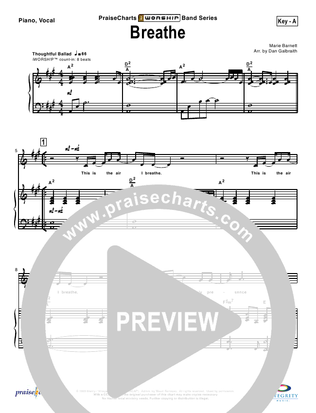 Breathe / Yearn Lead & Piano/Vocal (Marie Barnett)