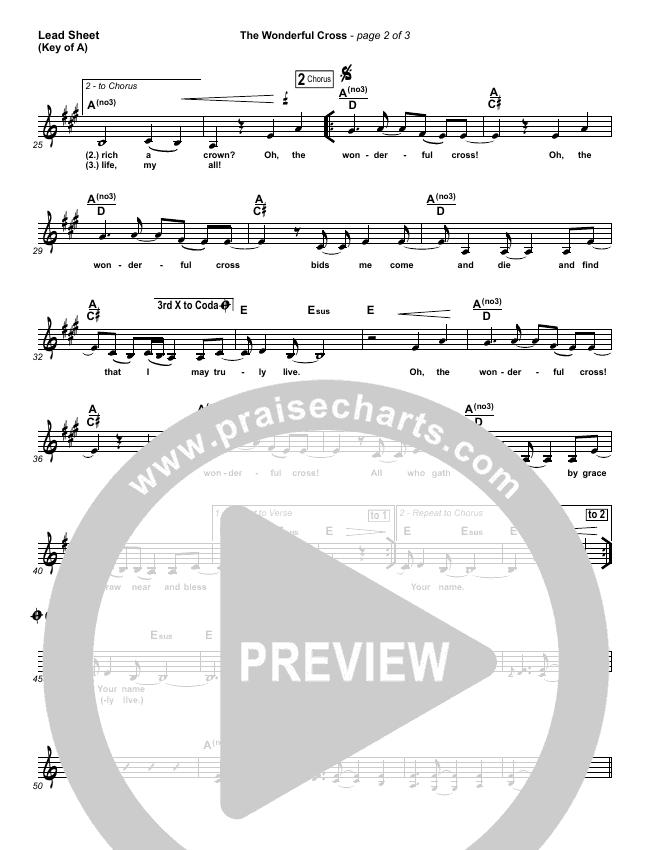 The Wonderful Cross Lead Sheet (Melody) (Chris Tomlin)