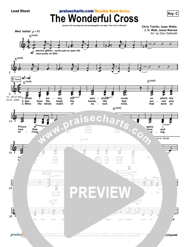 The Wonderful Cross Lead Sheet (SAT) (Chris Tomlin)