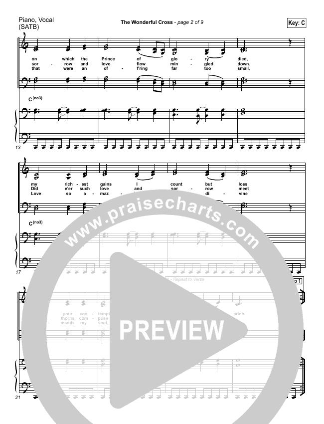 The Wonderful Cross Piano/Vocal (SATB) (Chris Tomlin)