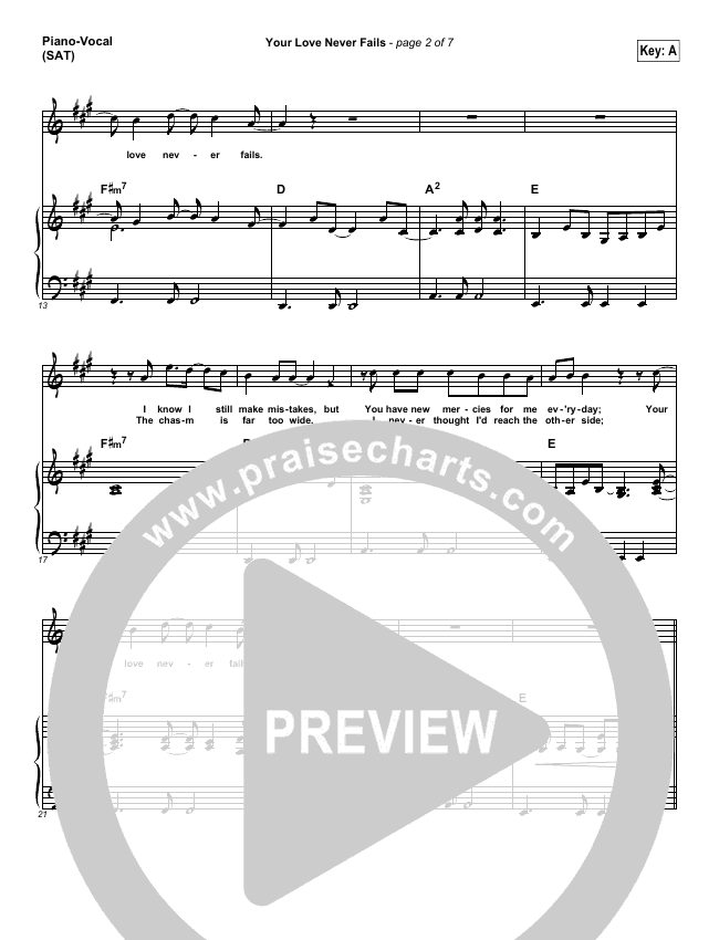 Your Love Never Fails Piano/Vocal (SATB) (Chris McClarney)