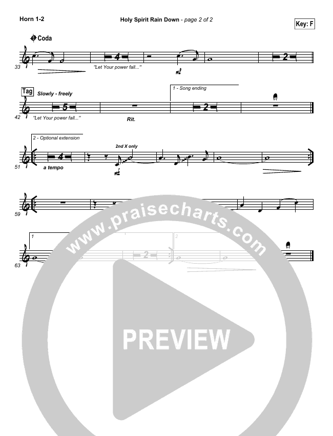 Holy Spirit Rain Down Brass Pack (Tpt, Tbn, Tba, Hn