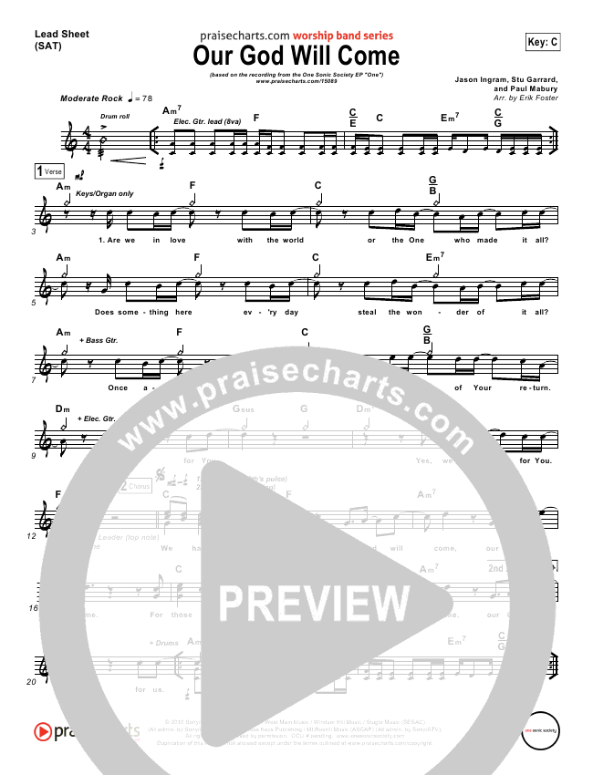Our God Will Come Lead Sheet (One Sonic Society)