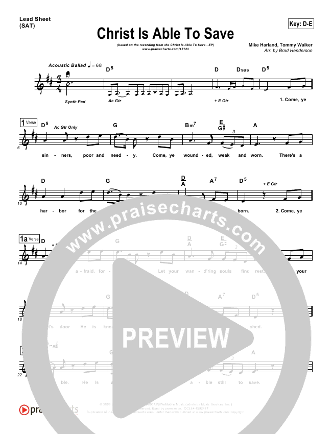 Christ Is Able To Save Lead Sheet ()