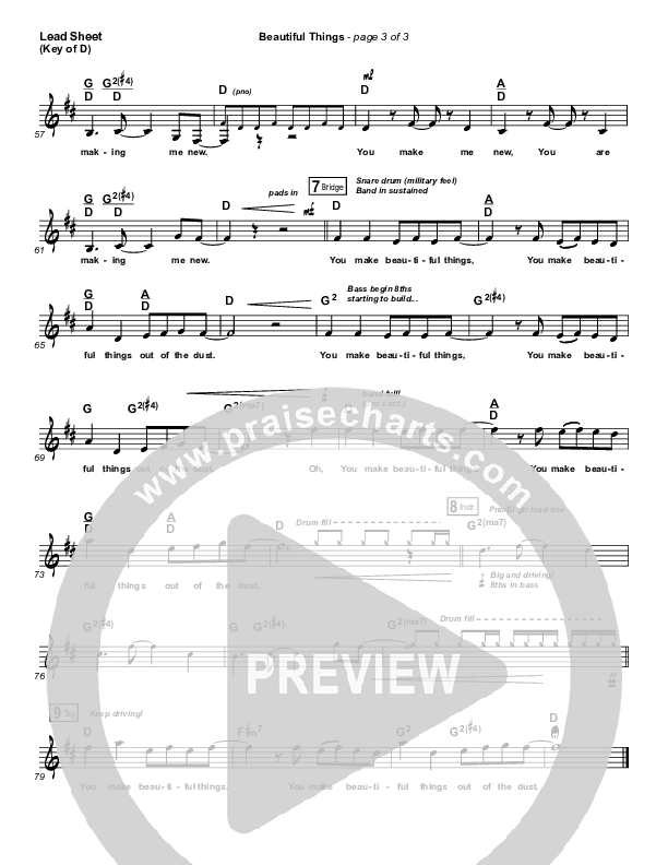 Beautiful Things Lead Sheet (Melody) (Michael Gungor)
