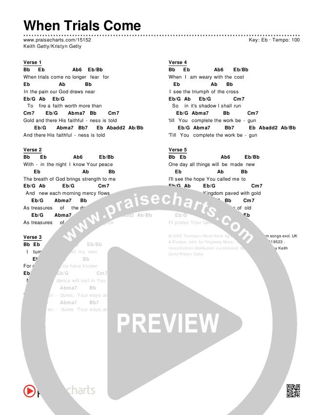When Trials Come Chords & Lyrics (Keith & Kristyn Getty)