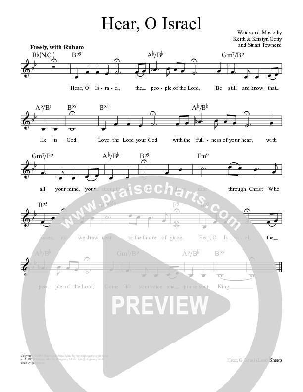 Hear O Israel Lead Sheet (SAT) (Keith & Kristyn Getty)