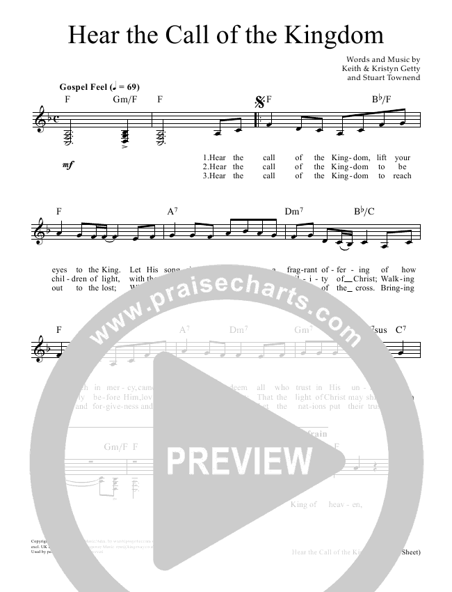 Hear The Call Of The Kingdom Lead Sheet Pianovocal Keith Getty