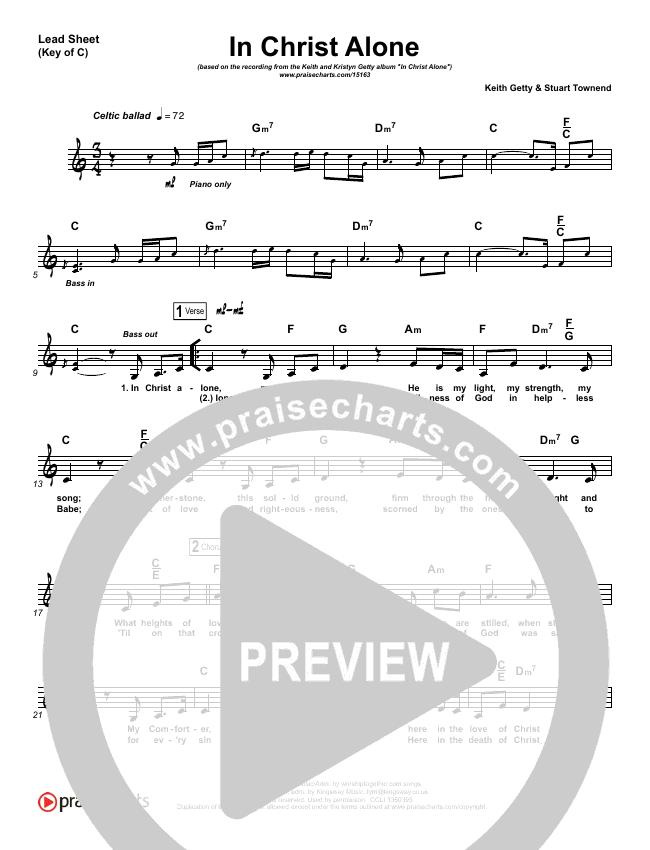 In Christ Alone Lead Sheet (Melody) (Keith & Kristyn Getty)