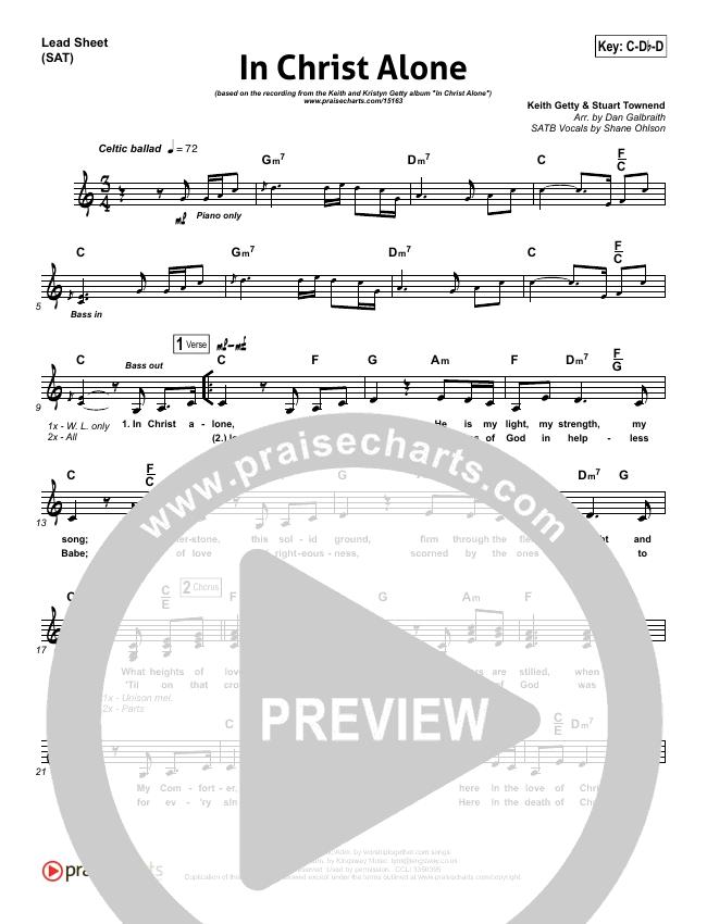 In Christ Alone Lead Sheet (SAT) (Keith & Kristyn Getty)