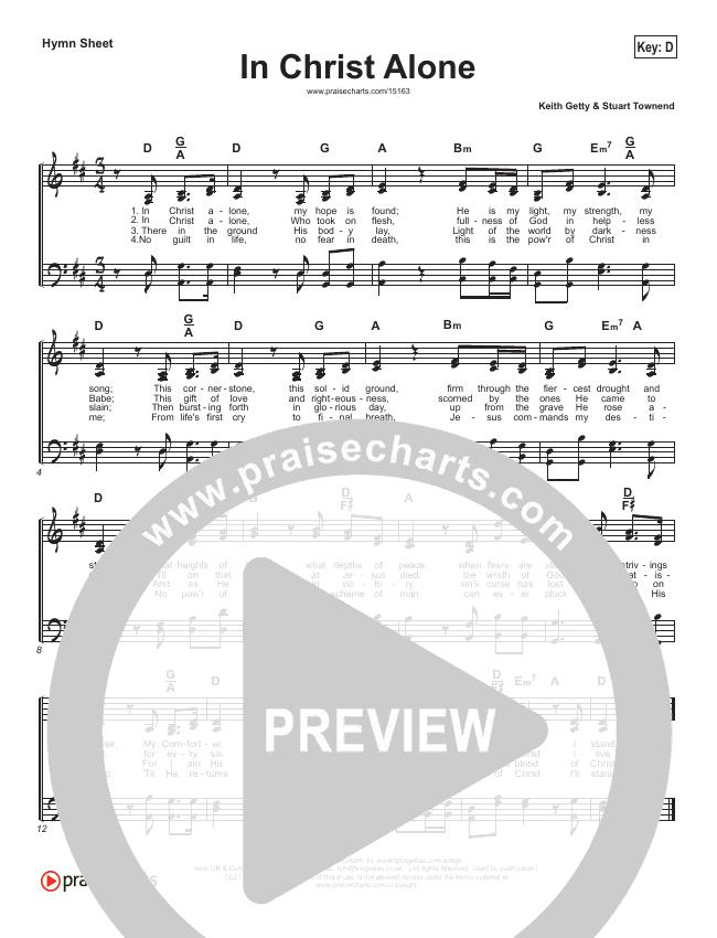 In Christ Alone Hymn Sheet (Keith & Kristyn Getty)