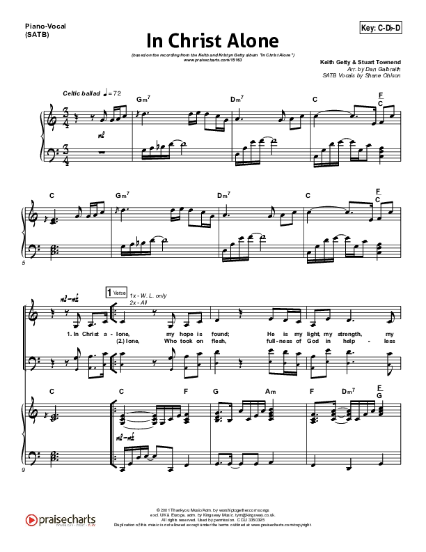 In Christ Alone Piano/Vocal (SATB) (Keith & Kristyn Getty)