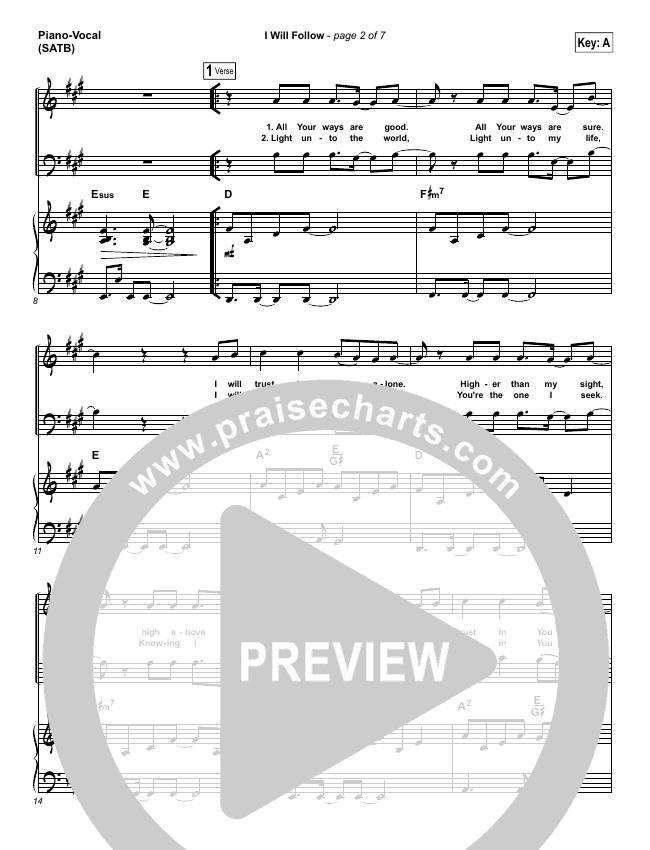 I Will Follow Piano/Vocal (SATB) (Chris Tomlin)