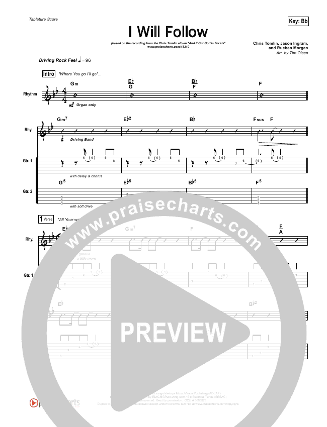 I Will Follow Guitar Tab Chris Tomlin Praisecharts