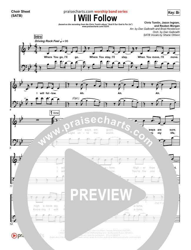 I Will Follow Choir Sheet Satb Chris Tomlin Praisecharts